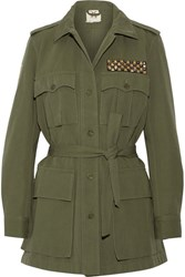 Figue Safari Embellished Cotton And Linen Blend Twill Jacket Army Green