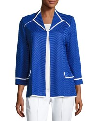 Misook Textured Knit Jacket With Contrast Trim Blue White