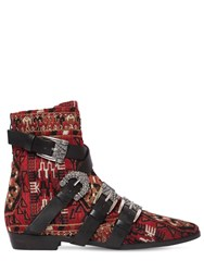 Etro 20Mm Wool Blend Brocade Ankle Boots Red