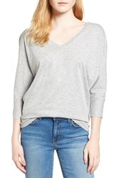 Velvet By Graham And Spencer Women's V Neck Tee Heather Grey