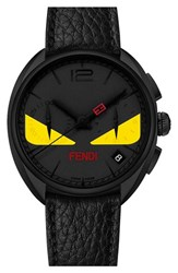 Men's Fendi 'Momento Bug' Chronograph Leather Strap Watch 40Mm Black