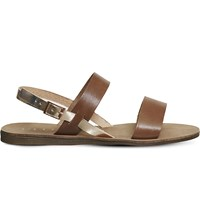 Office Honey Sling Back Leather Sandals Tan And Rose Gold