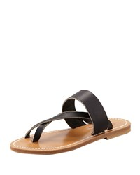 Nehru Crisscross Toe Ring Flat Sandal Black K. Jacques