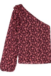 Ulla Johnson Enid One Shoulder Printed Cotton And Silk Blend Blouse Burgundy