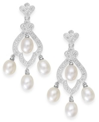 Macy's Cultured Freshwater Pearl 6Mm And Diamond 1 10 Ct. T.W. Earrings In Sterling Silver Black