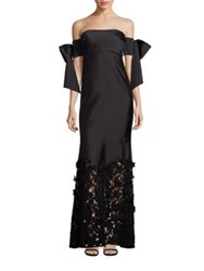 Sachin Babi Nancy Silk Organza Off The Shoulder Gown Onyx