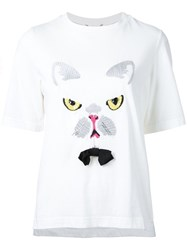 Muveil Cat Embroidery T Shirt White
