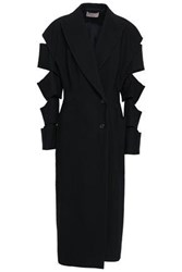 Christopher Kane Woman Double Breasted Cutout Crepe Coat Black