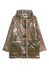 Topshop Checked Frosted Rain Mac Jacket Black Multi
