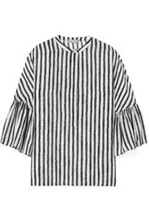 Michael Kors Collection Striped Silk Crepe Blouse White