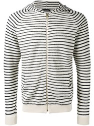 Roberto Collina Striped Hoodie White
