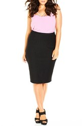 Plus Size Women's City Chic Pinstripe Midi Pencil Skirt