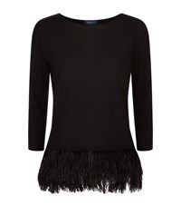 Polo Ralph Lauren Ostrich Feather Trimmed Jumper Female Black
