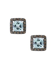Effy Final Call Brown Diamond Aquamarine And 14K White Gold Stud Earrings