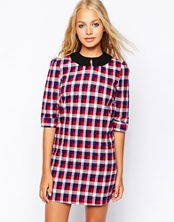 Influence Checked Collared Shirt Dress