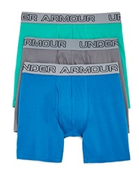 Under Armour Charged Cotton Boxer Briefs Pack Of 3 Peacock Graphite Geode Green