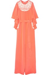 Oscar De La Renta Embroidered Cape Effect Silk Crepe Gown Coral