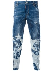 Dsquared2 Star Print Jeans Blue