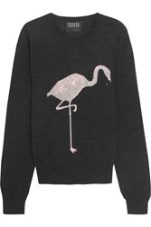 Markus Lupfer Flamingo Sequin Embellished Merino Wool Sweater Charcoal