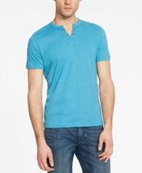 Kenneth Cole Reaction Split V Neck Henley Blue Jay