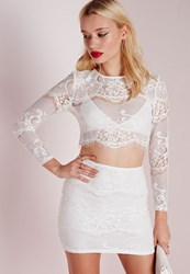 Missguided Lace Long Sleeve Scalloped Crop Top White
