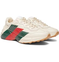 Gucci Rhyton Striped Leather Sneakers White