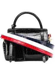 Thom Browne Small Crocodile Leather 3 Strap Bag Black