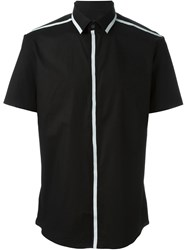 Les Hommes Trim Detail Button Down Shirt Black
