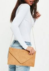 Missguided Camel Faux Suede Envelope Clutch