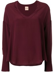 Nude Longsleeved V Neck Blouse Pink And Purple