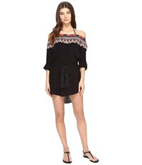 Red Carter Bohemian Breeze Off Shoulder Cover Up Black Multi Women's Swimwear