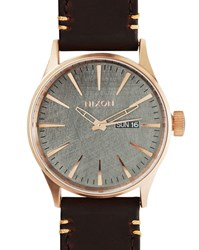 Nixon Pink Gold Sentry Watch Brown Horween Leather Strap
