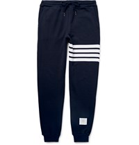 Thom Browne Tapered Striped Loopback Cotton Jersey Sweatpants Blue