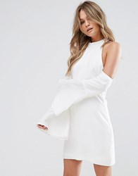 Wyldr Over It Cold Shoulder Shift Mini Dress Ivory Cream