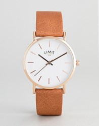 Limit Tan Faux Leather Watch With Bark Effect Exclusive To Asos
