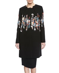 Zac Posen Pleated Neck Garden Sequined Embroidered Coat Black Pattern