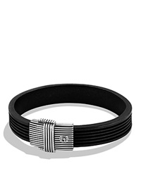 David Yurman Royal Cord Id Bracelet In Black Silver
