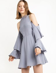Pixie Market Grey Blue Ruffled Cold Shoulder Dress