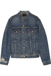 R 13 R13 Rebel Embroidered Distressed Denim Jacket Mid Denim