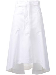 Odeeh Curved Draped Skirt White