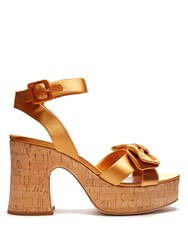 Miu Miu Bow Detail Satin Platform Sandals Gold