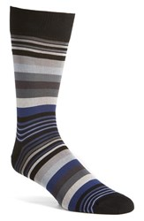 Bugatchi Men's 'Deconstructed Rugby Stripe' Socks Steel