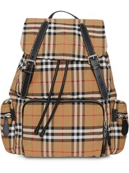 Burberry The Large Rucksack In Vintage Check Nylon Neutrals