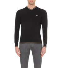 Armani Jeans V Neck Striped Trims Cotton Jumper Black
