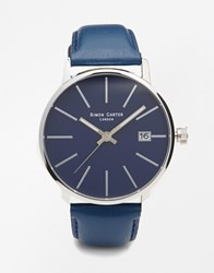 Simon Carter Leather Strap Watch With Date Window Blue