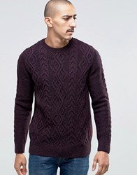 Barbour Jumper With Cable Knit In Red Merlot Mix
