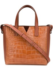 Vince Crocodile Embossed Tote Brown