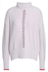 Duffy Open Knit Trimmed Wool And Cashmere Blend Turtleneck Sweater Pastel Pink