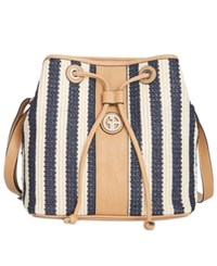 Giani Bernini Striped Straw Bucket Bag Only At Macy's Navy Natural