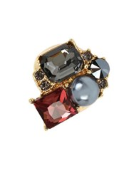 Kenneth Cole Mixed Faceted Stone And Pearl Cluster Ring Burgundy